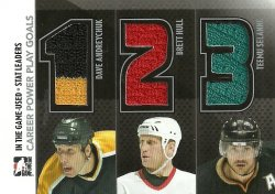2013/14 In The Game Used Stat Leaders Triple Jerseys Silver Andreychuk/Hull/Selanne /60