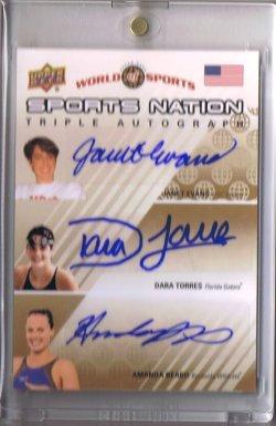 2011 Upper Deck World of Sports Janet Evans & Dara Torres & Amanda Beard Triple Autograph