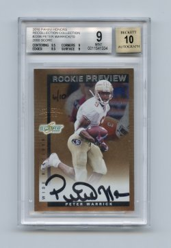 2016 Panini Honors Recollection Collection #2206 Peter Warrick/10/2000 Score Rookie Preview Autographs/10 BGS 9/10 (POP 1) - Only One Graded