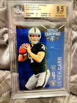2014 Panini Totally Certified Derek Carr Rookie Platinum Blue Parallel #2