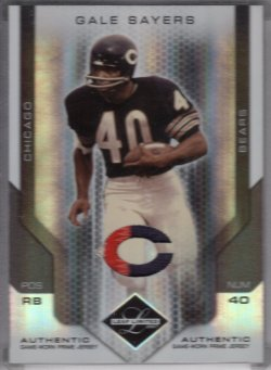 2007 Leaf Limited Gale Sayers Threads Team Logo Prime