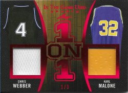 2020 Leaf In The Game Used Sports One on One Relics Red Chris Webber / Karl Malone #ed 1/3