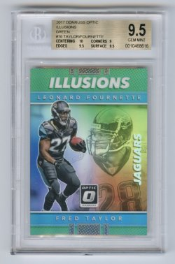 2017 Donruss Optic Illusions Green #16 Fred Taylor/Leonard Fournette/5 BGS 9.5