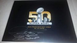 2016  Super Bowl 50 8x10 Logo Photo Deontay Wilder IP Autograph