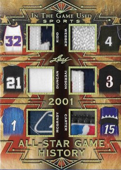 2019 Leaf In The Game Used Sports All-Star Game History 6 Relics Prime Gold Kidd / Webber / Duncan / Iverson / McGrady / Carter #ed 1/1