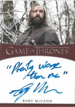 2020  Rittenhouse Game of Thrones Season 8 Inscription Autographs  Rory McCann as Sandor Clegane -