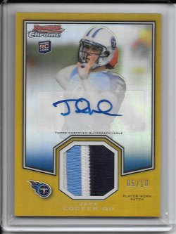 2011 Topps Chrome Bowman Chrome Rookie Preview Autograph Patch - Jake Locker (A)