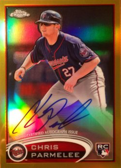 2012 Topps Chrome Rookie Autographs Gold Refractors Chris Parmelee 162
