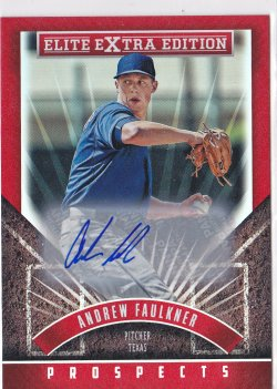 2015 Andrew Faulkner Elite Extra Edition Prospects Auto RC   Rangers A8637