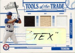 2005 Playoff Absolute Memorabilia Mark Teixeira TOTT Auto Swatch Triple Prime TEX