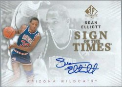 2012 Upper Deck SP Authentic Sean Elliott sign of the Times