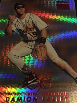 1999 Skybox 1/1 PROOF HANDCUT BLANK STAR RUBIES  DAMION EASLEY Detroit Tiger 2B