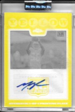 2008 Topps Chrome Yellow Autograph Printing Plate - Mario Manningham