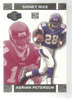 2007 Topps Co-Signers Changing Faces Gold Red Adrian Peterson/Sidney Rice