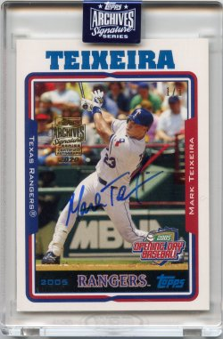 2020 Topps Archives Signatures Retired Mark Teixeira 2005 Topps Opening Day