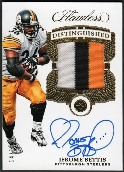 2017   Jerome Bettis Flawless Distinguished Gold Parallel 3-CLR Patch Auto #14/15