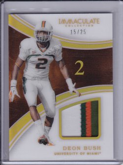 Deon Bush 2016 Panini Immaculate Collection Collegiate Immaculate Jerseys Numbers Prime /25
