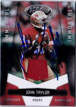 2010 Panini Certified Mirror Red Game Used Jersey John Taylor IP Auto