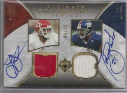2006 Upper Deck Ultimate Collection Tiki Barber & Larry Johnson Dual Signature Jersey