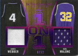 2020 Leaf In The Game Used Sports One on One Relics Purple Chris Webber / Karl Malone #ed 8/12