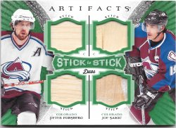 2015-16 Upper Deck Artifacts Stick to Stick Duos Green Peter Forsberg/Joe Sakic