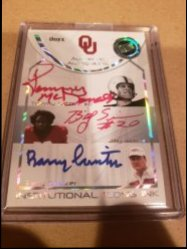 2008  Press Pass  Tommy McDonald Billy Sims Barry Switzer triple red ink auto