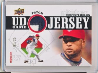 Francisco Liriano 2010 Upper Deck UD Game Patch /25