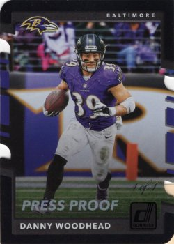 Danny Woodhead 2017 Donruss Black Press Proof Die Cut