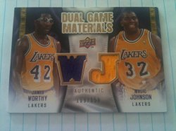 2009 Upper Deck  Magic Johnson/James Worthy dual patch /150