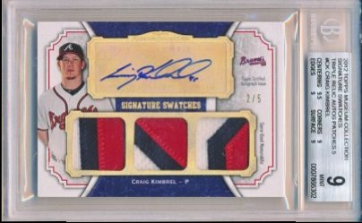 Craig Kimbrel 2012 Topps Museum Collection Signature Swatches Triple Relic Autographs Patches /5 BGS 9