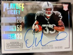 2016 Panini Contenders DeAndre Washington Rookie Autograph Playoff Ticket Variation