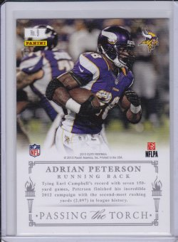 Adrian Peterson and Earl Campbell 2013 Elite Passing the Torch Silver (back)