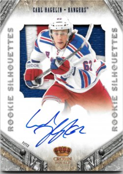 2011-12 Panini Rookie Anthology Crown Royale Rookie Silhouettes Patch Autographs Carl Hagelin