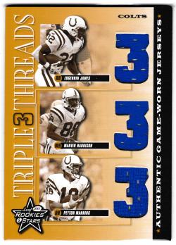 2001 Leaf Rookies and Stars Triple Threads w/ Harrison, Manning Edgerrin James