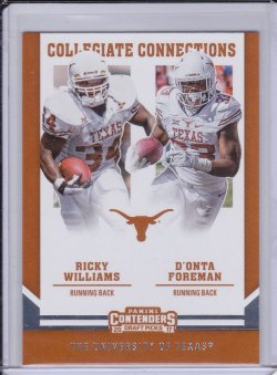 DOnta Foreman and Ricky Williams 2017 Panini Contenders Draft Picks Collegiate Connections