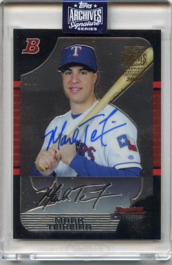 2020 Topps Archives Signatures Retired Mark Teixeira 2005 Bowman Chrome