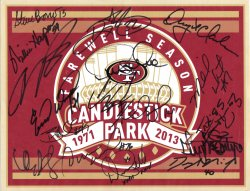 2013   49ers Signed 8.5 x 11 Farewell Candlestick Poster