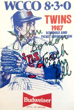 1987  Twins Schedule John Gordon