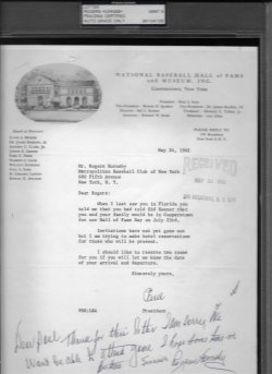 1962  Letter Rogers Hornsby