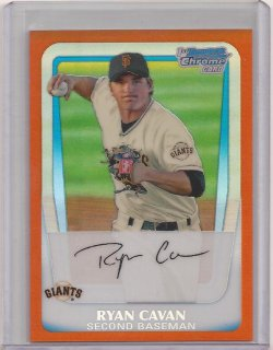 2011 Bowman Chrome Orange Refractor Ryan Cavan