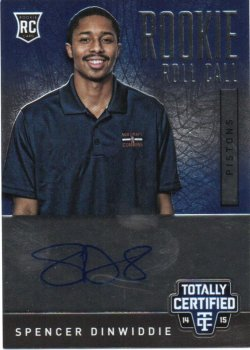 2014-15 Panini Totally Certified Dinwiddie, Spencer - Rookie Roll Call Autographs