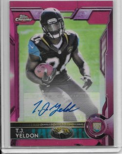2015 Topps Chrome Pink Refractor Rookie Autograph - T.J. Yeldon