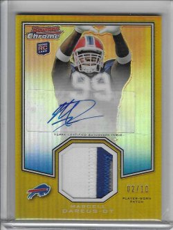 2011 Topps Chrome Bowman Chrome Rookie Preview Autograph Patch - Marcell Dareus (B)