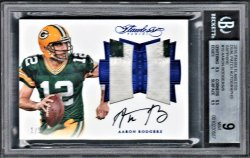 2016   Aaron Rodgers Flawless Sapphire Dual 2-CLR Patch Auto #1/5 BGS 9/10