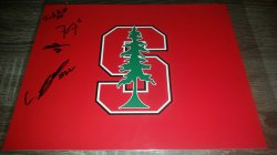 Stanford Logo 8x10 Photo IP Autograph Justin Reid / Francis Owosu and 2 others