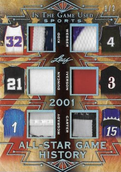2019 Leaf Leaf In The Game Used Sports All-Star Game History 6 Relics Prime Silver Kidd / Webber / Duncan / Iverson / McGrady / Carter #ed 1/2