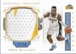 2017-18 Panini National Treasures Tremendous Treasures Gold Paul Millsap #ed 7/10