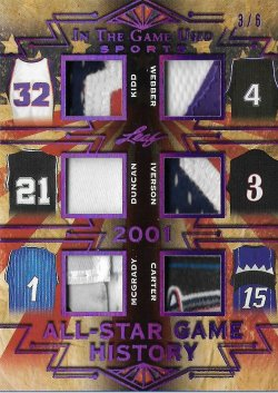 2019 Leaf Leaf In The Game Used Sports All-Star Game History 6 Relics Prime Purple Kidd / Webber / Duncan / Iverson / McGrady / Carter #ed 3/6