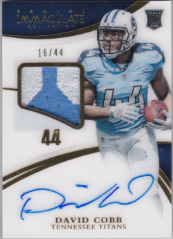2015 Panini Immaculate Collection Numbers Rookie Patch Signatures David Cobb