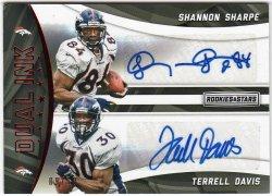 2016   Shannon Sharpe + Terrell Davis Rookies & Stars Dual Ink Ruby Parallel Dual Auto #9/10